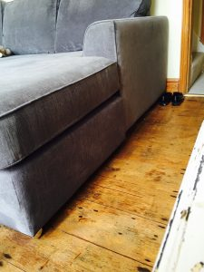 after red white stain was removed from grey sofa